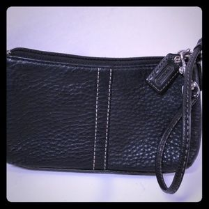"Black Leather Wristlet  7""x4.5 Coach"